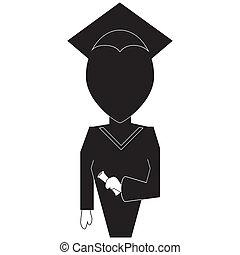 icono de educación en silueta negro en blanco