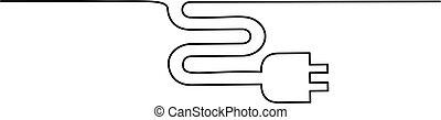 Icono de enchufe eléctrico en el fondo blanco