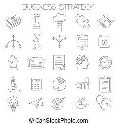 Icono de estrategia de estrategia de vector de línea delgada.