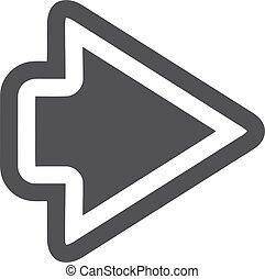 icono de flecha en negro en un fondo blanco. Ilustración de vectores