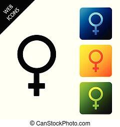 icono de género femenino aislado. El símbolo de Venus. El símbolo de un organismo o mujer. Pon los iconos coloridos botones cuadrados. Ilustración de vectores