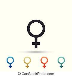 icono de género femenino aislado en el fondo blanco. El símbolo de Venus. El símbolo de un organismo o mujer. Pon elementos en colores. Ilustración de vectores