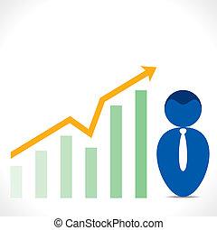 icono de hombres con gráfico de negocios