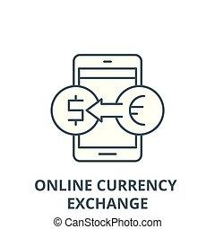 Icono de línea de cambio en línea, concepto lineal, signo de línea, símbolo