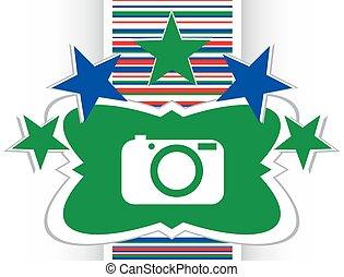 Icono de la cámara en el botón de internet ilustración original