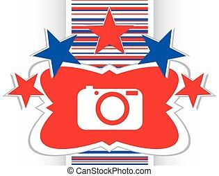 Icono de la cámara en el botón de internet vector de ilustración original