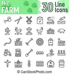 icono de la línea de granja, colección de símbolos agrícolas, bocetos vectoriales, ilustraciones de logo, señales de agricultura pictogramas lineales aislados en el fondo blanco, eps 10.