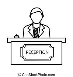 icono de la recepción, estilo de esquema