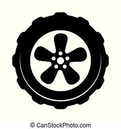 icono de la rueda aislado en el fondo blanco. Simple símbolo de concesionario o servicio de reparación
