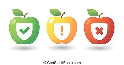 icono de manzana con iconos de inspección
