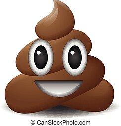 icono de mierda, cara sonriente, símbolo, emoji