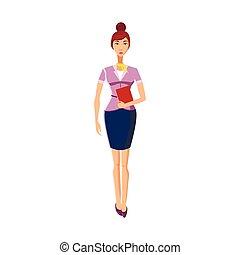 icono de mujer de negocios en estilo de dibujos animados