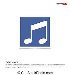 icono de nota musical, fotograma azul