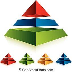 icono de pirámide con tres capas.