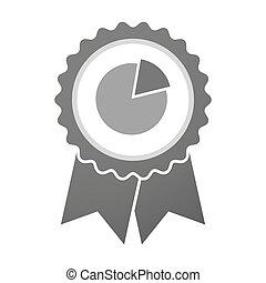 Icono de placa Vector con un gráfico de pastel