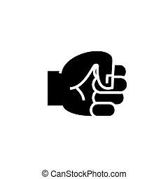 icono de puño a mano, ilustración vectorial, signo negro en el fondo aislado
