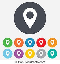 Icono de puntero. Simbolo de localización GPS.
