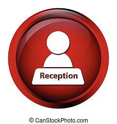 icono de recepción en el botón rojo