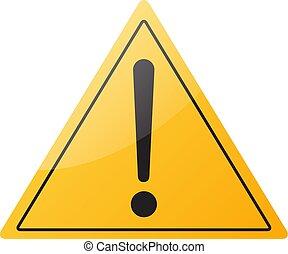 icono de signo de advertencia, aislado en el fondo blanco, ilustración vectorial.