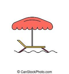 Icono de silla de playa, estilo de dibujos animados