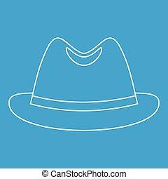 Icono de sombrero de hombre, estilo de esquema