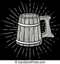icono de taza de cerveza de madera