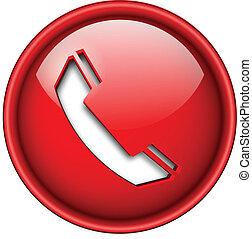 icono de teléfono, botón.