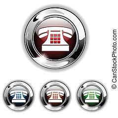 icono de teléfono, botón, vector iluminau