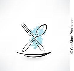 icono de tenedor y cuchara