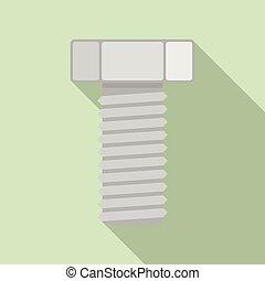 icono de tornillo de cromo, estilo plano