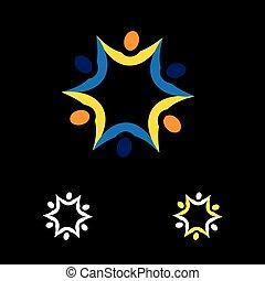 Icono de vector abstracto colorido de personas conectadas juntas