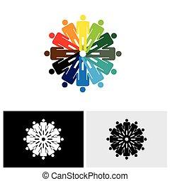 Icono de vector abstracto colorido de personas que se toman de la mano