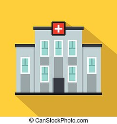 Icono del centro médico, estilo plano