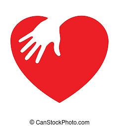 icono del corazón con mano cariñosa