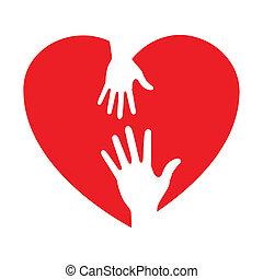 icono del corazón con manos cuidadosas