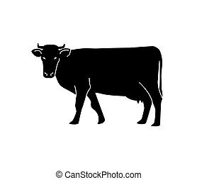 icono, design., o, empaquetado, fondo., blanco, logotipo, aislado, silueta, cow., vector