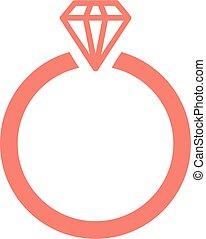 icono, diamante, vector, anillo