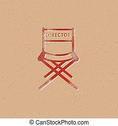 icono, director, -, película, halftone, silla