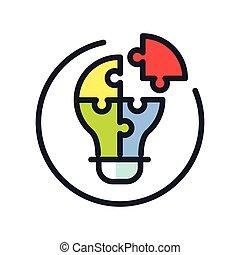icono, el solucionar, color, problema
