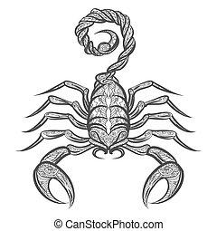 icono, escorpión, zentangle, vector