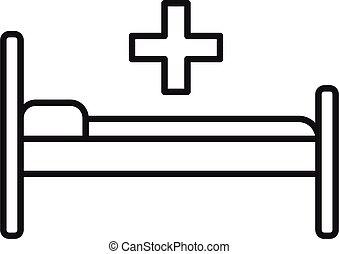 icono, estilo, cama del hospital, contorno