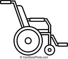 icono, estilo, hospital, contorno, sílla de ruedas