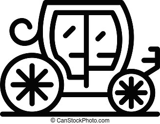 icono, estilo, real, contorno, carruaje