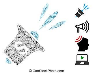 icono, financiero, vector, rupor, noticias, collage, línea