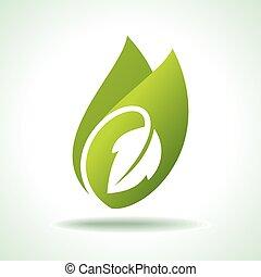 icono, fresco, hoja verde