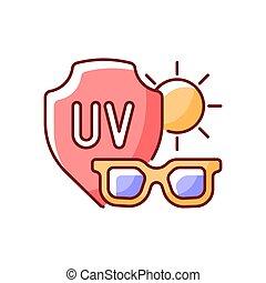 icono, gafas de sol, rgb, color