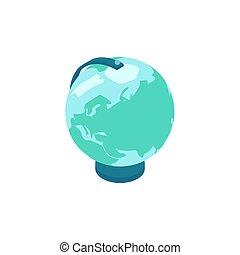 icono, globo, isométrico