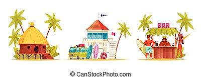 icono, hawai, caricatura, conjunto
