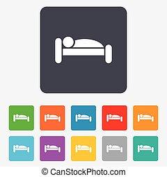 icono humano en la cama. Lugar de descanso. Simbolo durmiente.