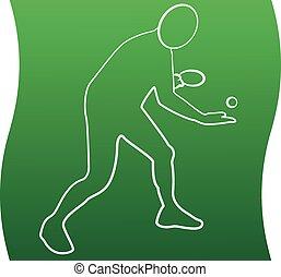 icono, jugador, símbolo, tabla, deportes, señal, set., tenis, línea